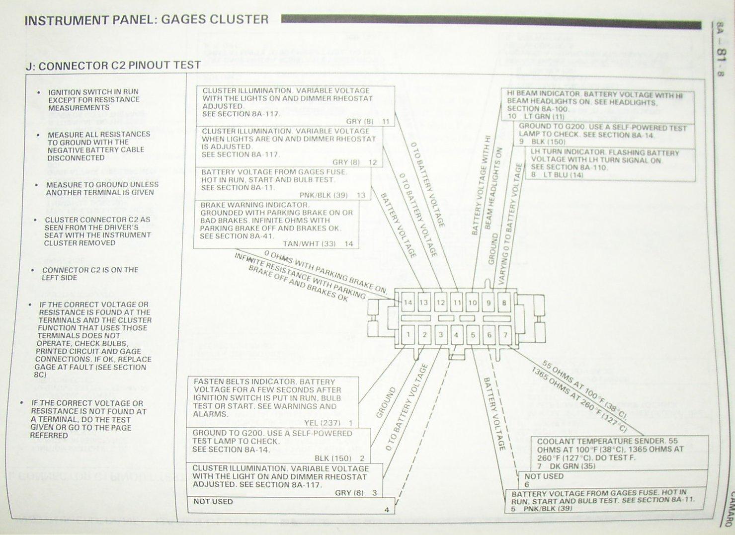 Camaro Gauge Cluster Diagram Needed